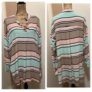 Lucy Love Women's Striped Tunic Top Long Sleeve M